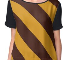Kalamazoo Michigan Brown & Gold Team Color Stripes Chiffon Top