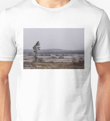 Canadian North - Lone Pine, Fields, Hills and Fresh Snow Unisex T-Shirt