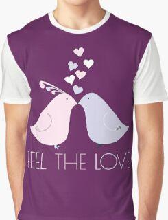 Two Cartoon Love Birds Kissing Graphic T-Shirt