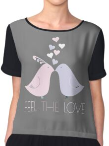 Two Cartoon Love Birds Kissing Chiffon Top