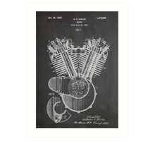 Harley Davidson Motorcycle Engine US Patent Art 1923 Art Print