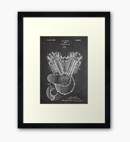 Harley Davidson Motorcycle Engine US Patent Art 1923 Framed Print