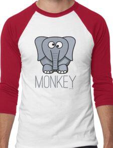 Funny Monkey Elephant Design Men's Baseball ¾ T-Shirt