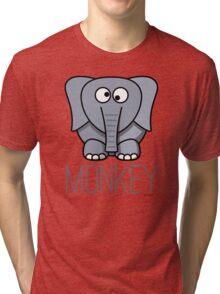 Funny Monkey Elephant Design Tri-blend T-Shirt