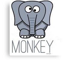 Funny Monkey Elephant Design Canvas Print