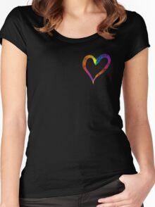 Heart Web Effect Women's Fitted Scoop T-Shirt