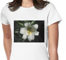 Emerging from the Darkness - Pure White Easter Lily Womens Fitted T-Shirt