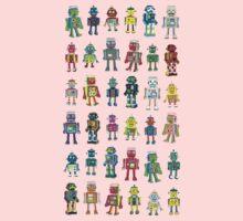 Robot Line-up on White Kids Tee