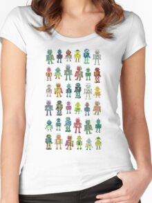 Robot Line-up on White Women's Fitted Scoop T-Shirt