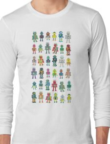 Robot Line-up on White Long Sleeve T-Shirt