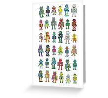 Robot Line-up on White Greeting Card