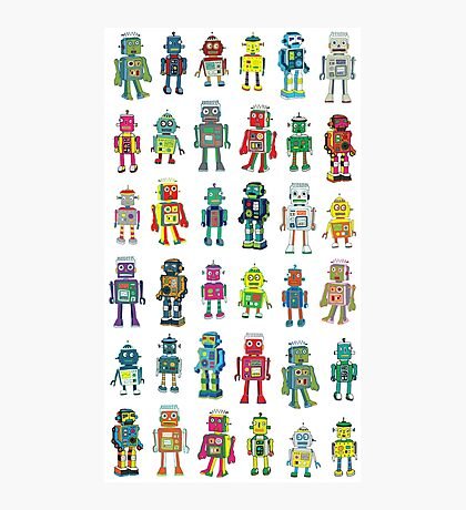 Robot Line-up on White Photographic Print