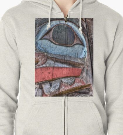 Haida First Nations Totem Carving Zipped Hoodie