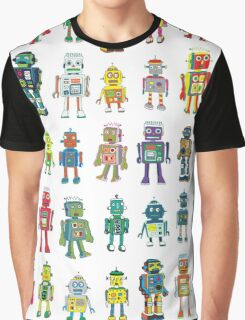Robot Line-up on White Graphic T-Shirt