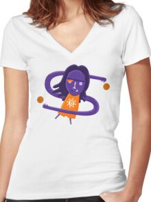 Steve Nash getting Nashty NBAlien Women's Fitted V-Neck T-Shirt