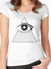 All Seeing Eye (Black/White) Women's Fitted Scoop T-Shirt