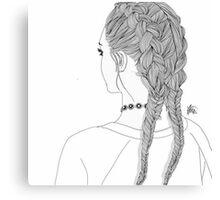 OUTLINE GIRL 2 BRAIDS TUMBLR TRANSPARENT Canvas Print