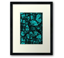 Fractal art black and turquoise Framed Print