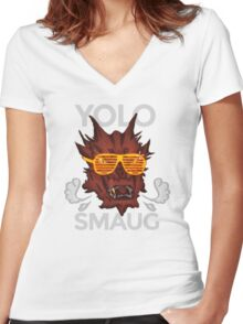Yolo SMAUG! Women's Fitted V-Neck T-Shirt