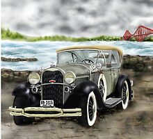 """Model A"" 1931 Ford Phaeton, [Classic Car] and Forth Rail Bridge [Edinburgh, Scotland] : Version 1 by Grant Wilson"