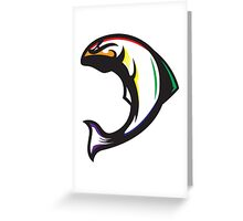 Pride Salmon (Black/White/Rainbow) - Spor Repor Salmon Greeting Card
