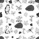Black And White Fall Woodland Animals And Foliage by artonwear