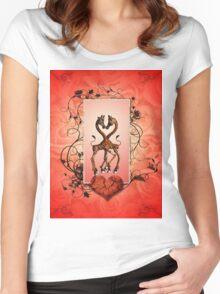 Cute giraffes in love Women's Fitted Scoop T-Shirt