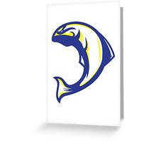 Thunderbird Salmon (Blue/White/Yellow) - Spor Repor Salmon Greeting Card