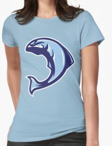 Winter Salmon (Blue/White/Light Blue) - Spor Repor Salmon Womens Fitted T-Shirt