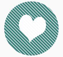 Striped heart Turquoise   Kids Tee