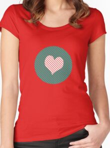 Striped heart Turquoise   Women's Fitted Scoop T-Shirt