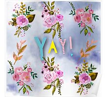 water color,hand painted,floral sky,pattern,girly,trendy,modern Poster