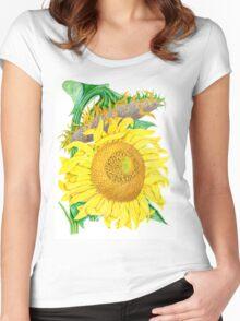 Mammoth Gray Stripe sunflower Women's Fitted Scoop T-Shirt