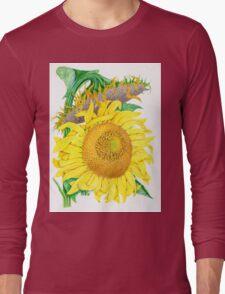 Mammoth Gray Stripe sunflower Long Sleeve T-Shirt