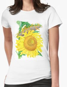 Mammoth Gray Stripe sunflower Womens Fitted T-Shirt