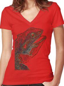 leguan, colored leguan Women's Fitted V-Neck T-Shirt