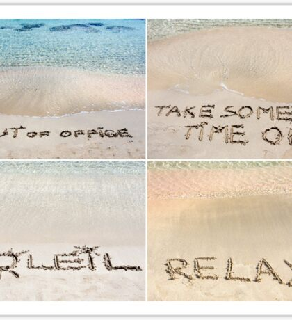 Collage of relaxation messages written on sand Sticker