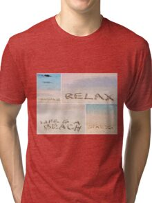 Collage of relaxation messages written on sand Tri-blend T-Shirt