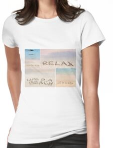 Collage of relaxation messages written on sand Womens Fitted T-Shirt