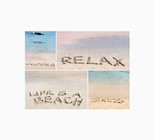 Collage of relaxation messages written on sand Unisex T-Shirt