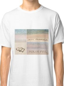 Collage of wedding messages written on sand Classic T-Shirt