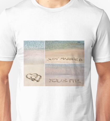 Collage of wedding messages written on sand Unisex T-Shirt