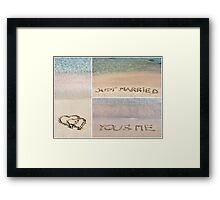 Collage of wedding messages written on sand Framed Print