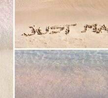 Collage of wedding messages written on sand Sticker