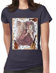 BOB DYLAN PLAYING HARMONICA Womens Fitted T-Shirt