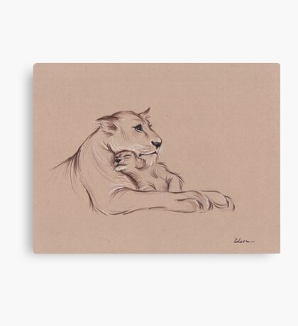 """""""Guardian"""" - Lioness and Cub prisma pencil drawing Canvas Print"""