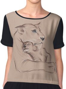 """Guardian"" - Lioness and Cub prisma pencil drawing Chiffon Top"
