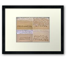 Collage of relaxation messages written on sand Framed Print