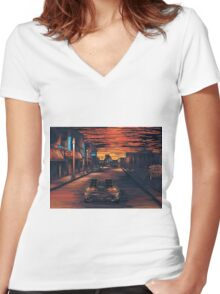 Back To The Future Version 2 Women's Fitted V-Neck T-Shirt