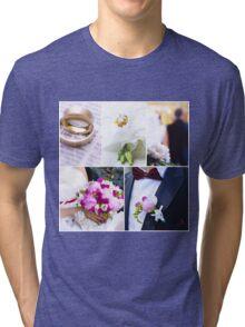 Wedding theme photo collage Tri-blend T-Shirt